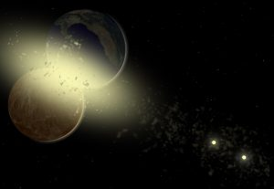 A yellow-and-black sketch of 2 planets colliding, with a double star in the background.