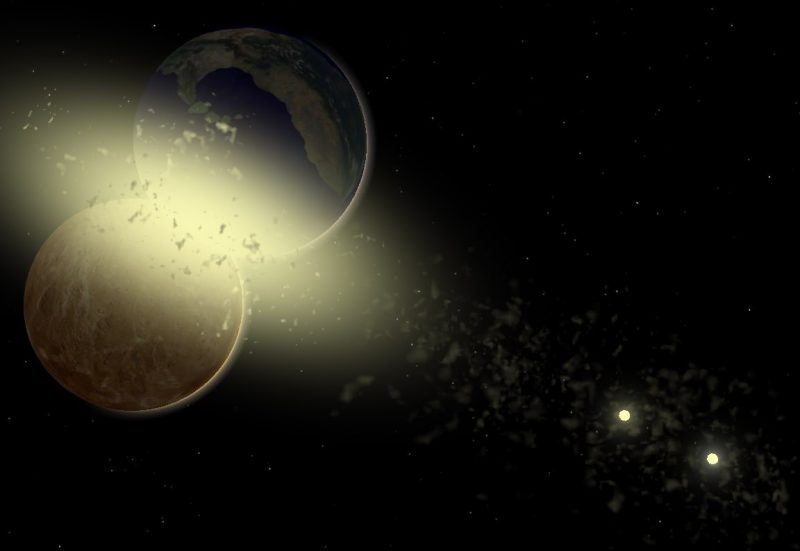 A yellow dust cloud puffing outward from 2 colliding planets, with a double star in the background.