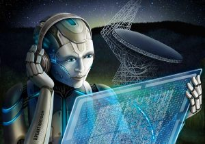 Alien looking at computer screen with radio telescope in background.