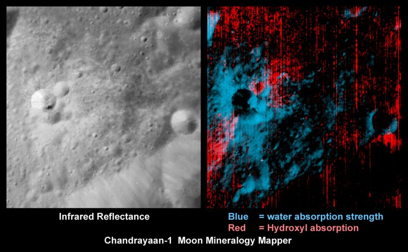 2 images of cratered lunar surface: Gray on left and red-blue false-color on right.