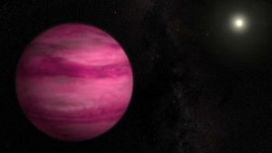 Reddish giant planet with star in background.