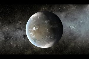 Rocky planet with water.