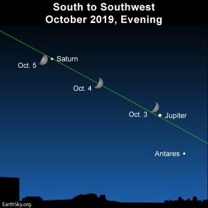 Moon and Jupiter close October 3 and 4 | EarthSky.org