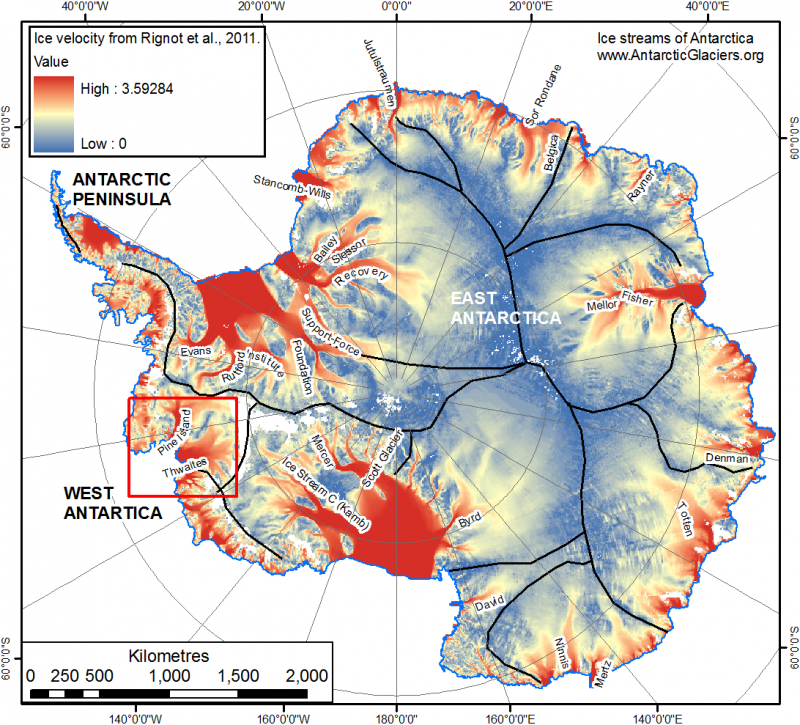 Map of Antarctica, with ice streams and glaciers highlighted and named.
