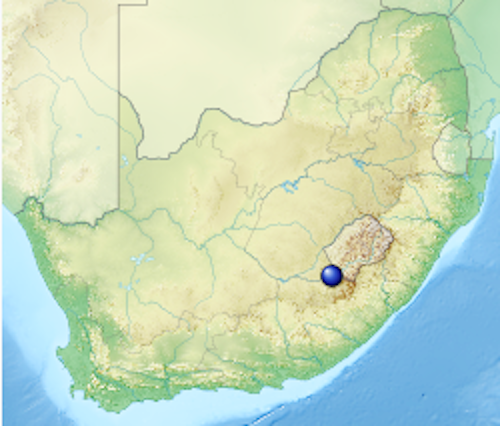Map of southern Africa with a large blue dot on the southeast side near Lesotho.