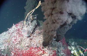 """Black """"smoke"""" in deep ocean water."""