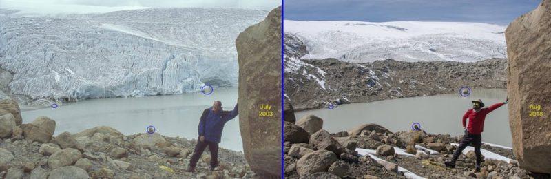 Left: glacier reaches bottom of hillside. Right: wide strip of bare rock exposed beneath glacier.
