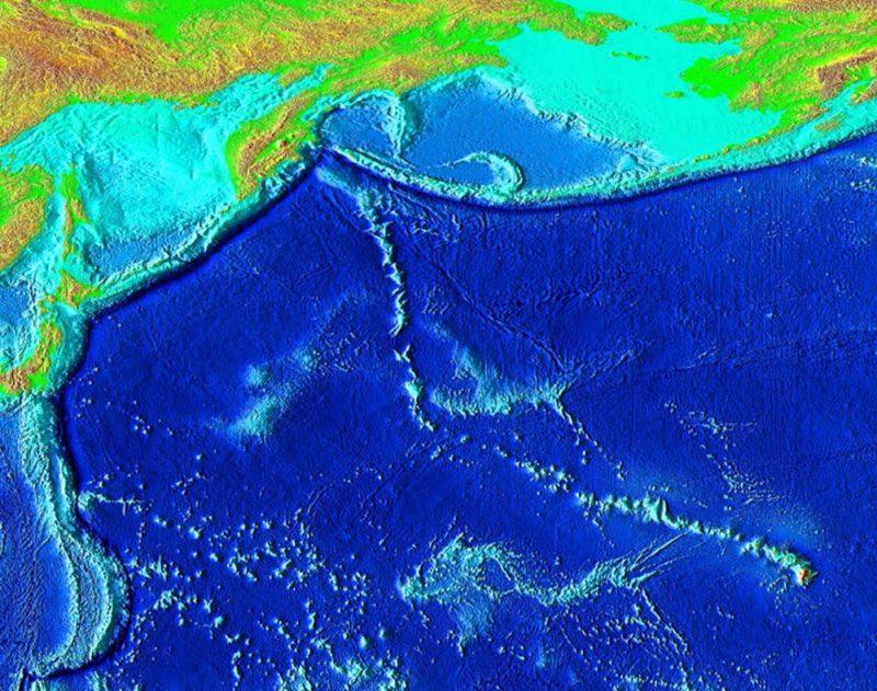 Map of western Pacific sea floor.