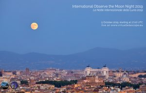 """""""Poster"""" for International Observe the Moon NIght 2019, showing the moon above Rome's skyline."""