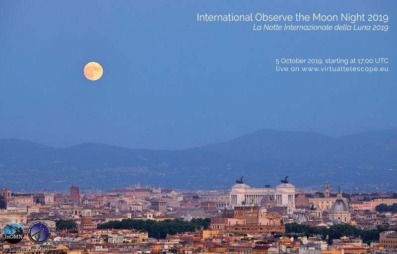 A yellow full moon floats high above Rome's skyline of ancient and modern buildings.