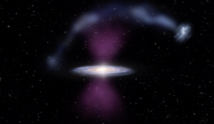 Artist's rendition of edgewise Milky Way galaxy, with bright explosive features emanating from either side of the center, and a stream of material arcing over the galaxy.
