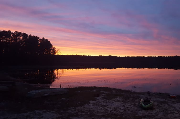 Pink sunset sky reflected in a calm lake surrounded by forest.