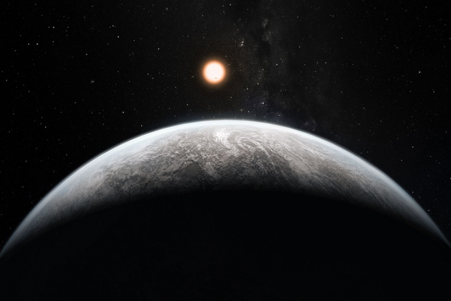 Crescent orbital view of Earth-like planet with its sun and stars in background.