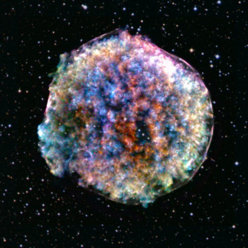 Bumpy, multi-colored ball.