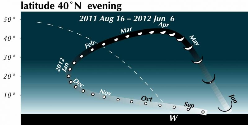 Chart of Venus's curved track through the sky with increasing size and phase changes.