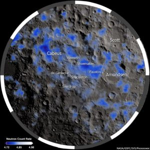 Craters on the moon with blue patches.