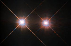 Two bright stars close to each other.