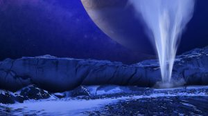 Water vapor plume on a moon with large planet in the sky.