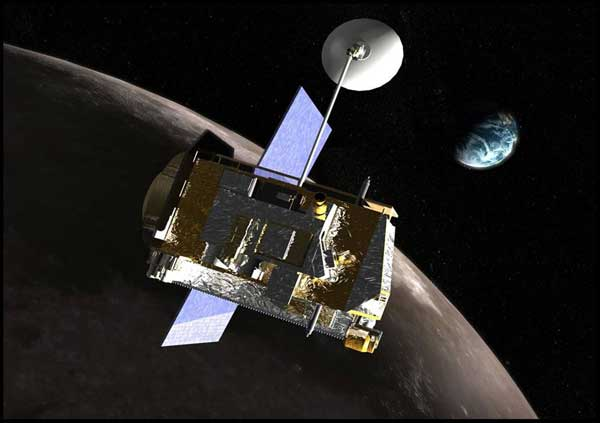 Blocky spacecraft with small dish antenna pointing toward distant Earth.
