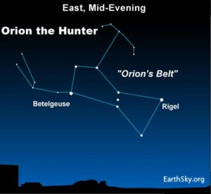 Orion the Hunter now easy to view | EarthSky.org