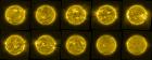Ten yellow circles on a black background