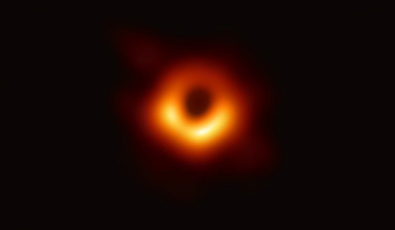 Bright ring of red-orange-yellow light around a black center, on a black background.