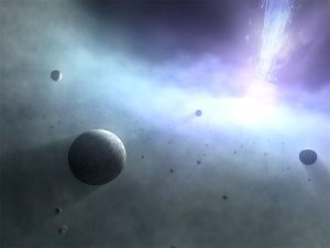 Many planets in a cloud of dust and gas.