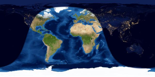 Map of entire Earth with day and night side at full moon.
