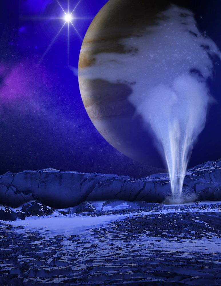 Large plume shooting up from icy surface. Jupiter looms in background in light of small but bright sun.