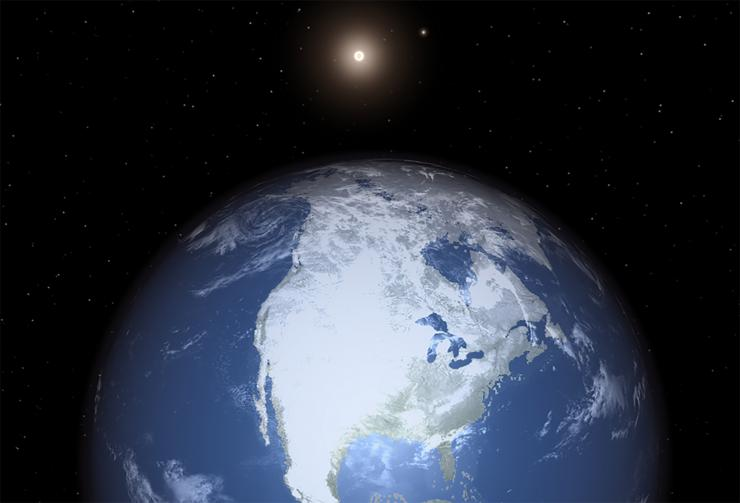 Planet with oceans, continents and ice with small star in background.