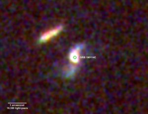 A distant galaxy and a bright gamma ray burst.
