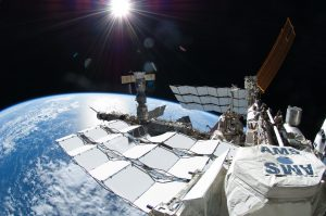View of Earth over the side of the ISS.
