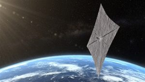 Square sail floating in space above Earth.