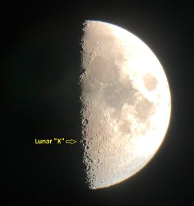 A moon just past 1st quarter, with Lunar X annotated.