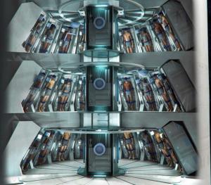 Mockup of a large hibernation chamber containing a couple of dozen sleeping astronauts.
