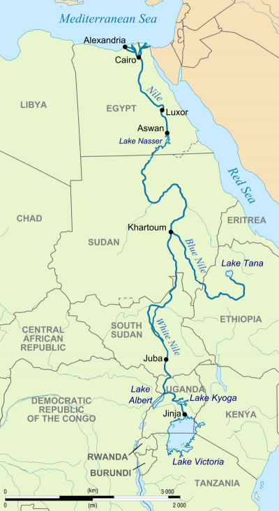 Map of river running north from Lake Victoria in Uganda to delta in Egypt.