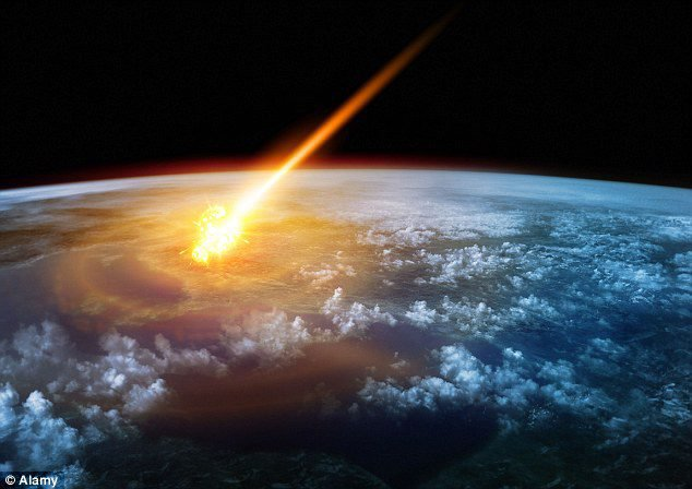 View from orbit of huge impact explosion and asteroid's flaming trail.