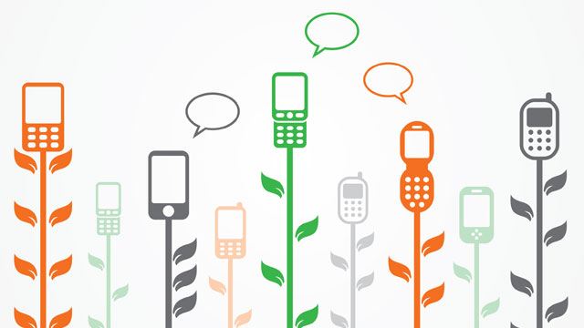 Stylized plants with cell phones on top of their stalks.