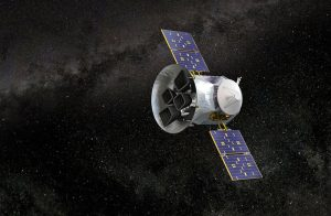 Illustration of a spacecraft in black space.