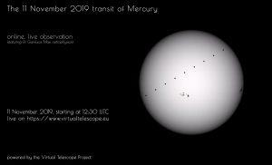 Virtual Telescope Project poster for November 11, 2019 Mercury transit.