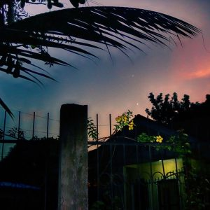 Venus and Jupiter in twilight, above a picturesque house and garden.
