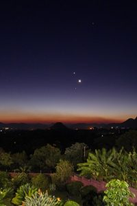 Planets and moon in twilight.
