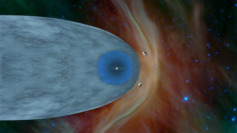 Concentric oval and circle with two tiny spacecraft out in front.