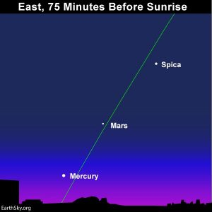 Spica, Mars and Mercury at morning dawn.