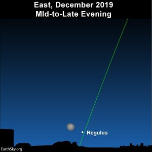 Moon and star Regulus over the eastern horizon.