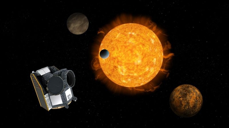 Spacecraft with large sun-like star and planets in background.