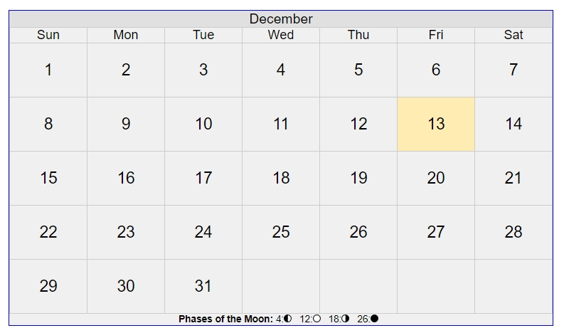 December 2019 calendar with moon phases at bottom and Friday 13 marked.