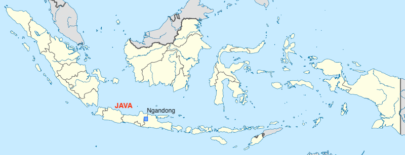 A map of Indonesia with Ngandong marked.