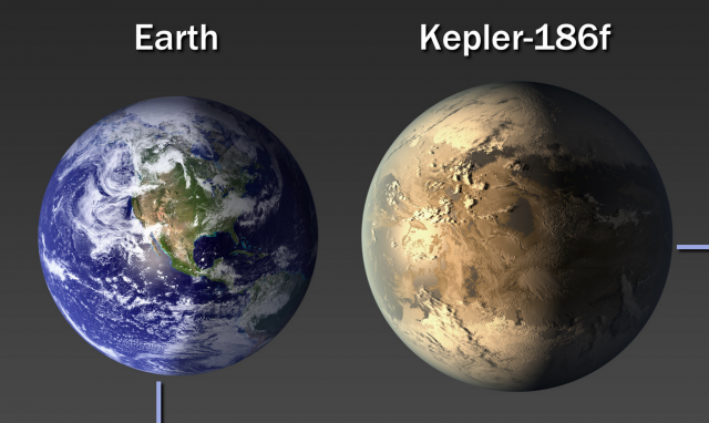 Size comparison of Earth with a slightly larger rocky planet side by side.