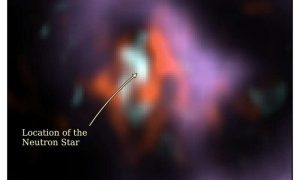 The location of the neutron star at the core of the supernova 1987A remnant. Via Cardiff University.